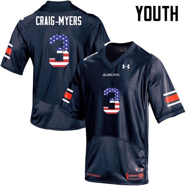 Youth #3 Nate Craig-Myers Auburn Tigers USA Flag Fashion College Football Jerseys-Navy