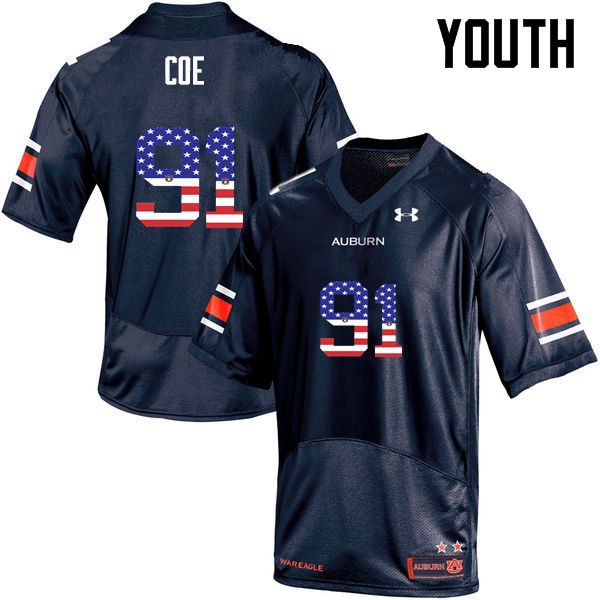 Youth #91 Nick Coe Auburn Tigers USA Flag Fashion College Football Jerseys-Navy