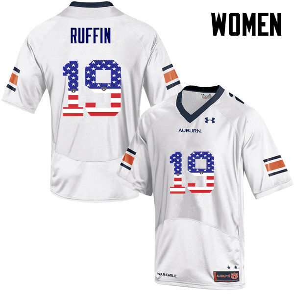 Women #19 Nick Ruffin Auburn Tigers USA Flag Fashion College Football Jerseys-White