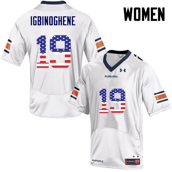 Women #19 Noah Igbinoghene Auburn Tigers USA Flag Fashion College Football Jerseys-White