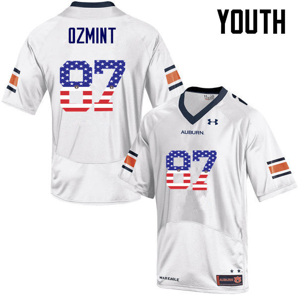 Youth #87 Pace Ozmint Auburn Tigers USA Flag Fashion College Football Jerseys-White