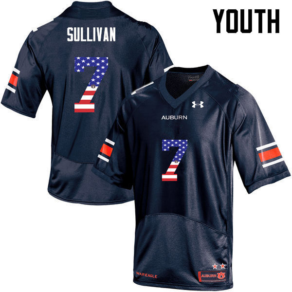 Youth #7 Pat Sullivan Auburn Tigers USA Flag Fashion College Football Jerseys-Navy