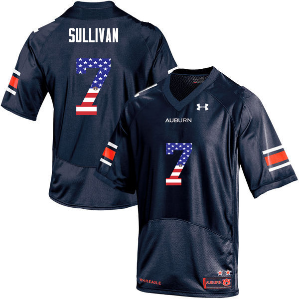 Men #7 Pat Sullivan Auburn Tigers USA Flag Fashion College Football Jerseys-Navy