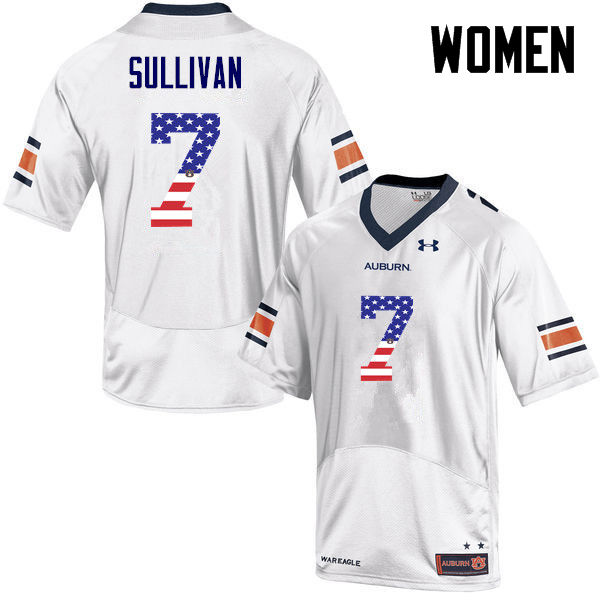 Women #7 Pat Sullivan Auburn Tigers USA Flag Fashion College Football Jerseys-White