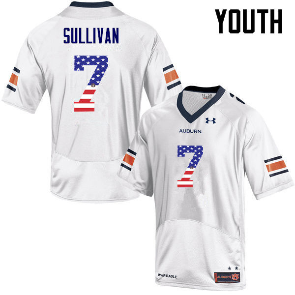 Youth #7 Pat Sullivan Auburn Tigers USA Flag Fashion College Football Jerseys-White