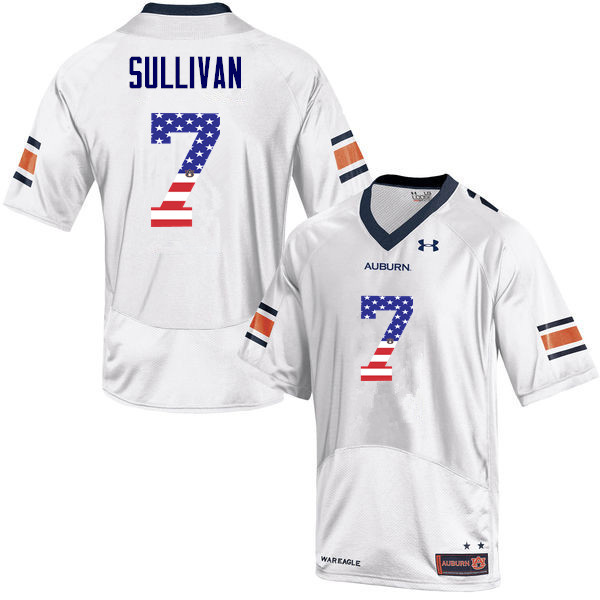 Men #7 Pat Sullivan Auburn Tigers USA Flag Fashion College Football Jerseys-White
