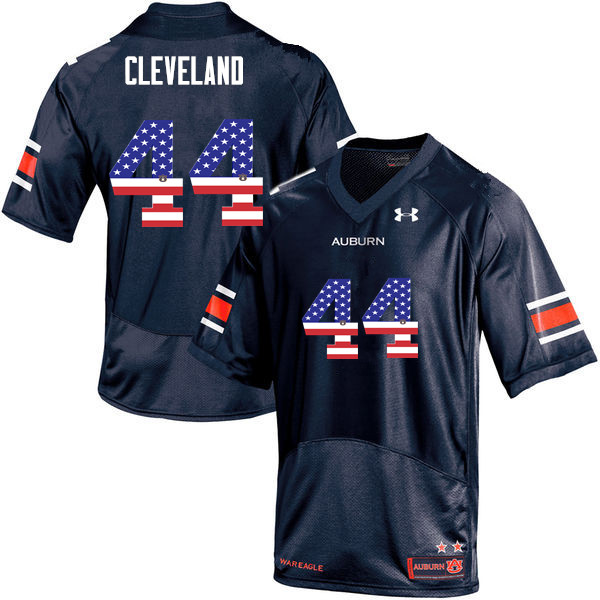 Men #44 Rawlins Cleveland Auburn Tigers USA Flag Fashion College Football Jerseys-Navy