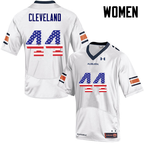 Women #44 Rawlins Cleveland Auburn Tigers USA Flag Fashion College Football Jerseys-White