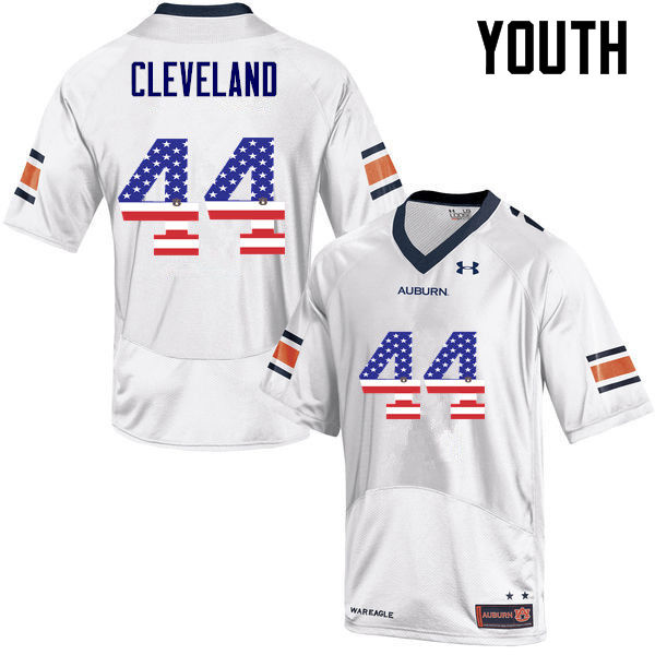 Youth #44 Rawlins Cleveland Auburn Tigers USA Flag Fashion College Football Jerseys-White