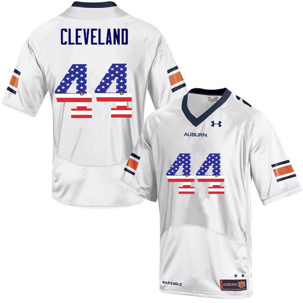 Men #44 Rawlins Cleveland Auburn Tigers USA Flag Fashion College Football Jerseys-White