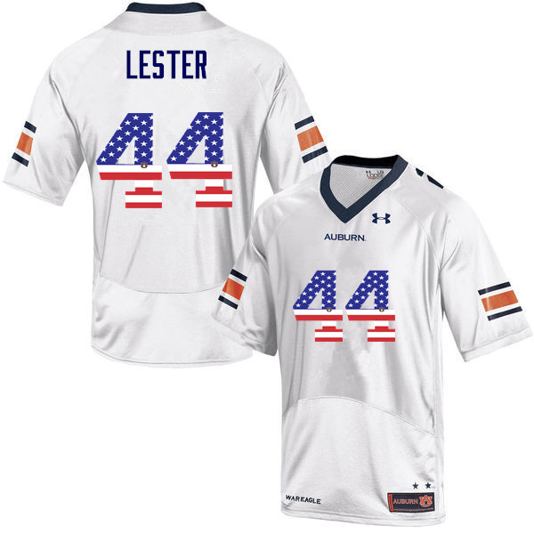Men #44 Raymond Lester Auburn Tigers USA Flag Fashion College Football Jerseys-White