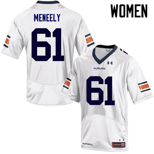 Women Auburn Tigers #61 Ryan Meneely College Football Jerseys Sale-White