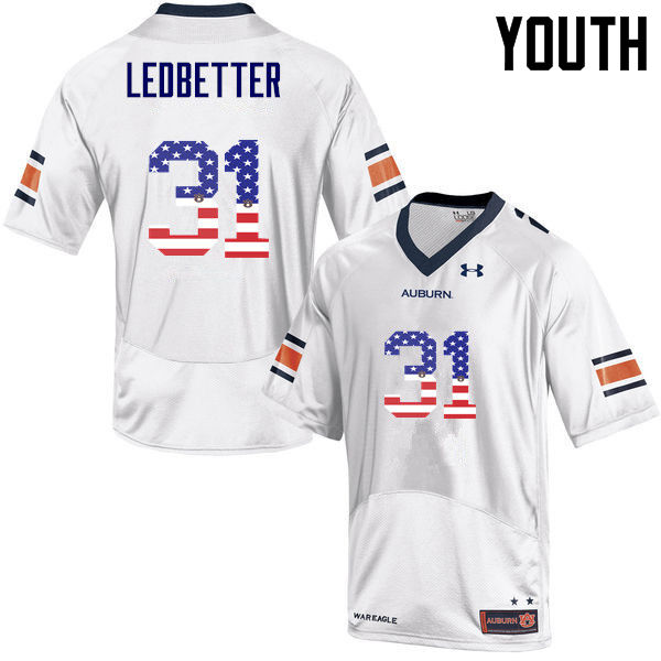 Youth #31 Sage Ledbetter Auburn Tigers USA Flag Fashion College Football Jerseys-White