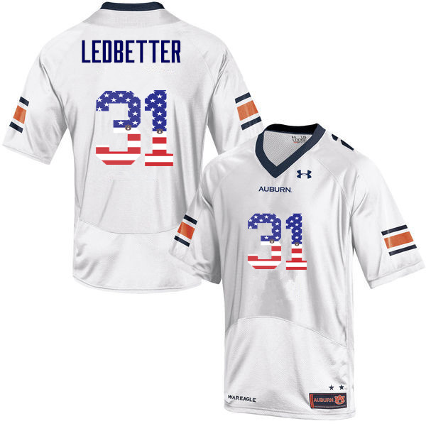 Men #31 Sage Ledbetter Auburn Tigers USA Flag Fashion College Football Jerseys-White