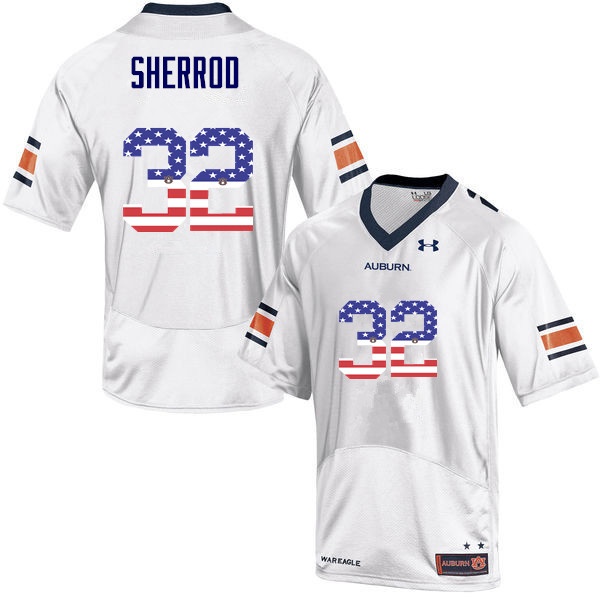 Men #32 Sam Sherrod Auburn Tigers USA Flag Fashion College Football Jerseys-White