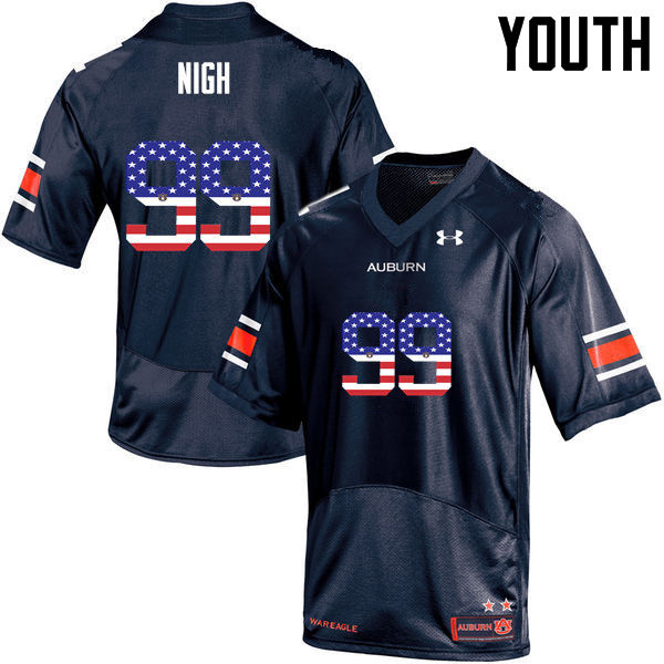 Youth #99 Spencer Nigh Auburn Tigers USA Flag Fashion College Football Jerseys-Navy