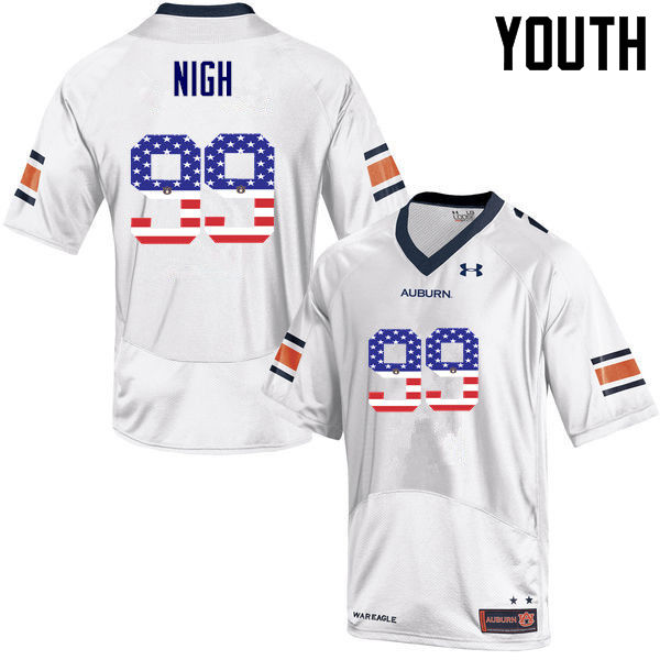 Youth #99 Spencer Nigh Auburn Tigers USA Flag Fashion College Football Jerseys-White
