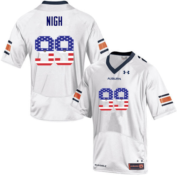 Men #99 Spencer Nigh Auburn Tigers USA Flag Fashion College Football Jerseys-White