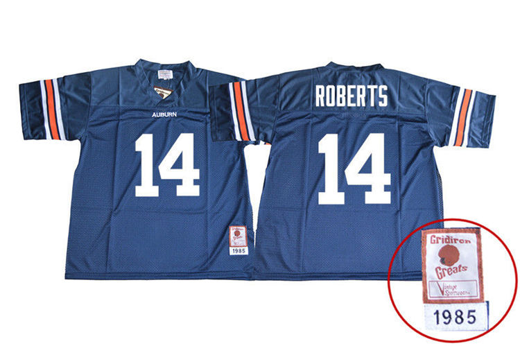 1985 Throwback Men #14 Stephen Roberts Auburn Tigers College Football Jerseys Sale-Navy