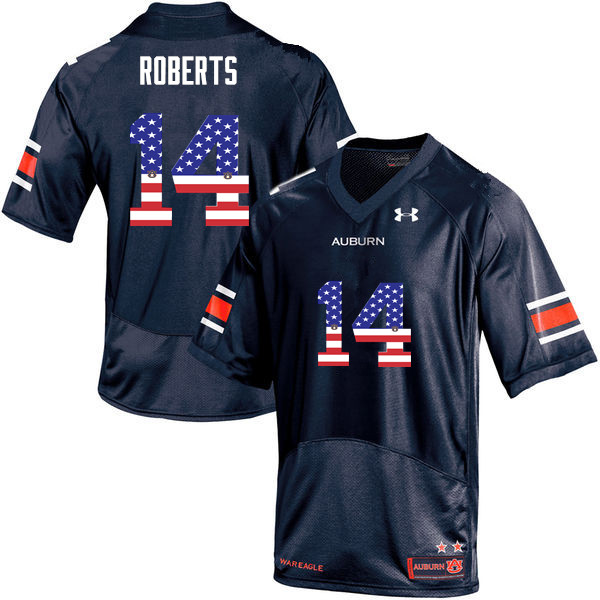 Men #14 Stephen Roberts Auburn Tigers USA Flag Fashion College Football Jerseys-Navy