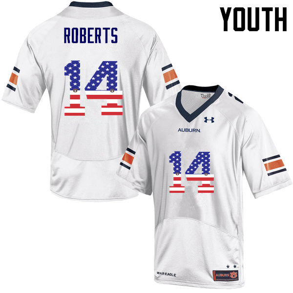 Youth #14 Stephen Roberts Auburn Tigers USA Flag Fashion College Football Jerseys-White