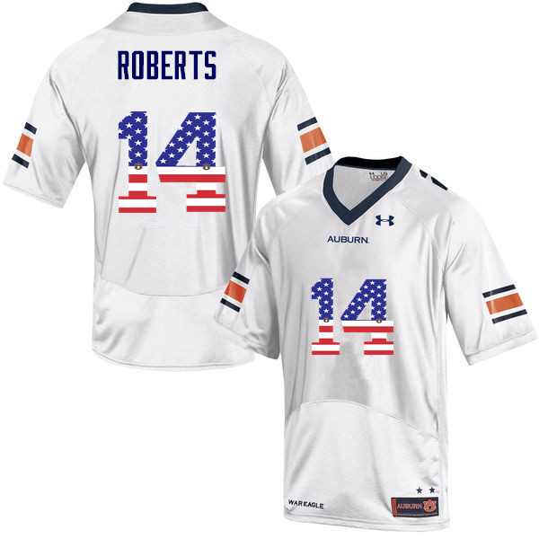 Men #14 Stephen Roberts Auburn Tigers USA Flag Fashion College Football Jerseys-White