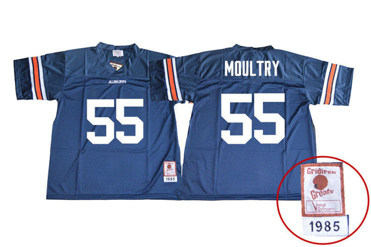 1985 Throwback Men #55 T.D. Moultry Auburn Tigers College Football Jerseys Sale-Navy
