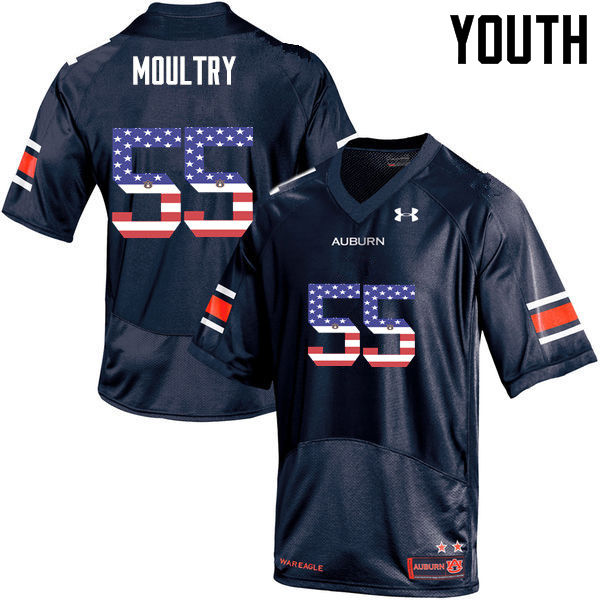 Youth #55 T.D. Moultry Auburn Tigers USA Flag Fashion College Football Jerseys-Navy