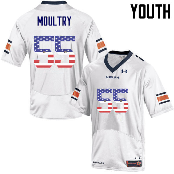 Youth #55 T.D. Moultry Auburn Tigers USA Flag Fashion College Football Jerseys-White