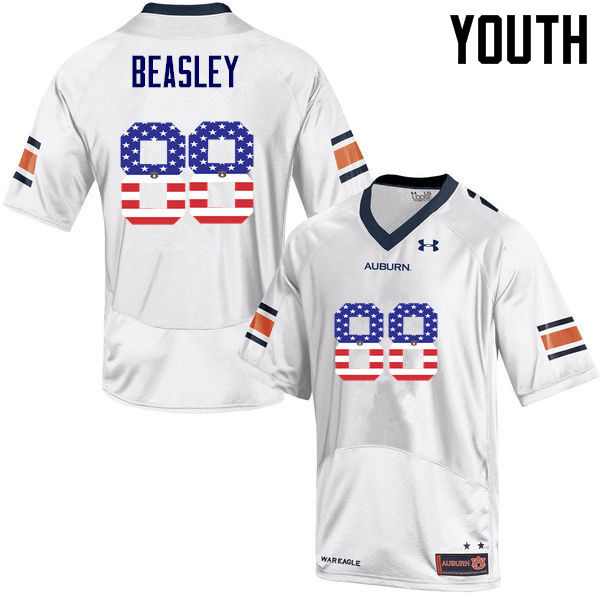 Youth #88 Terry Beasley Auburn Tigers USA Flag Fashion College Football Jerseys-White