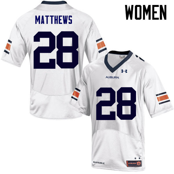 Women Auburn Tigers #28 Tray Matthews College Football Jerseys Sale-White