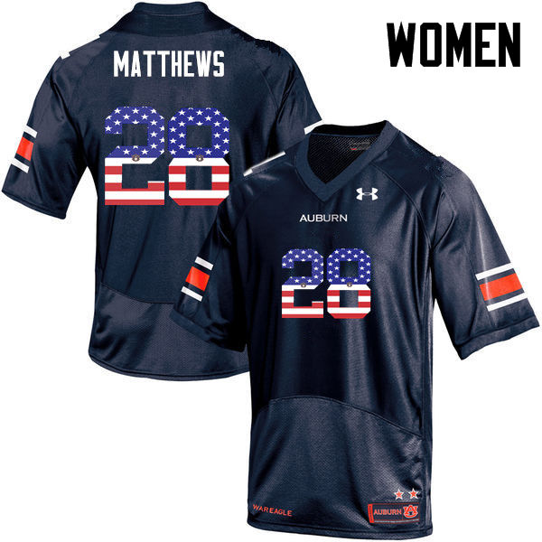 Women #28 Tray Matthews Auburn Tigers USA Flag Fashion College Football Jerseys-Navy