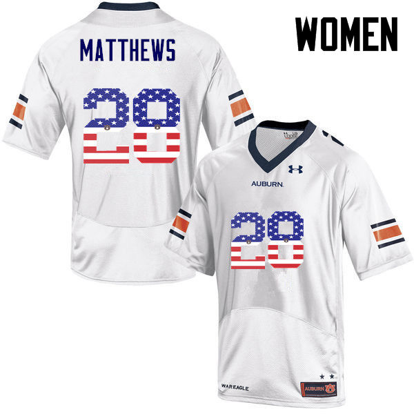 Women #28 Tray Matthews Auburn Tigers USA Flag Fashion College Football Jerseys-White