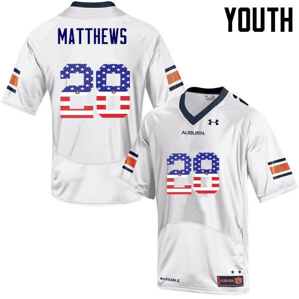 Youth #28 Tray Matthews Auburn Tigers USA Flag Fashion College Football Jerseys-White