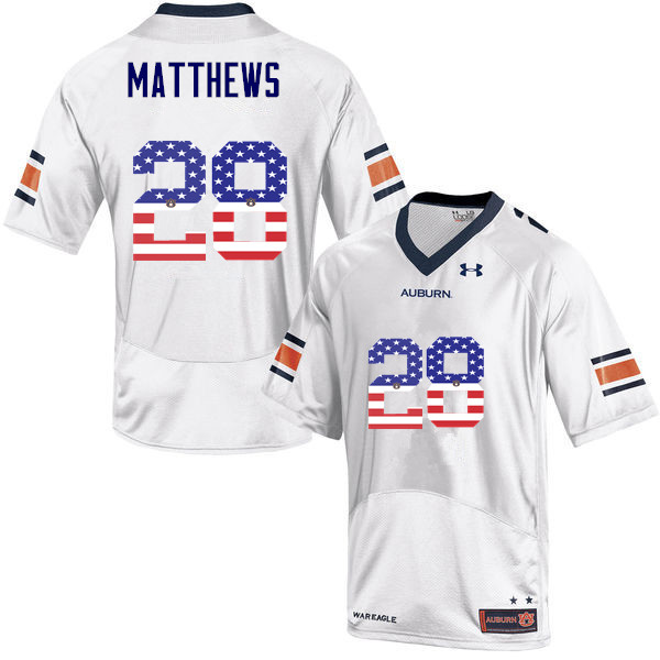 Men #28 Tray Matthews Auburn Tigers USA Flag Fashion College Football Jerseys-White