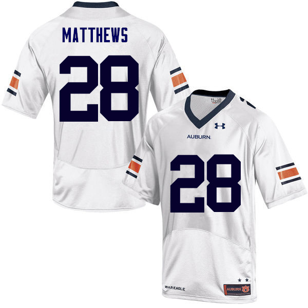 Men Auburn Tigers #28 Tray Matthews College Football Jerseys Sale-White