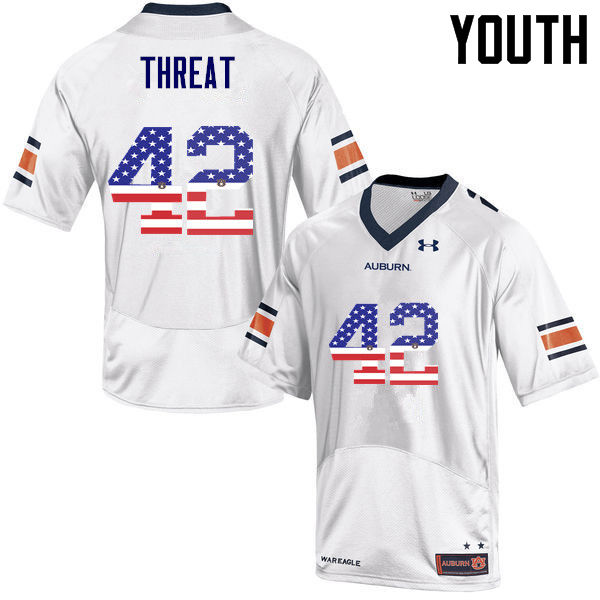 Youth #42 Tre Threat Auburn Tigers USA Flag Fashion College Football Jerseys-White