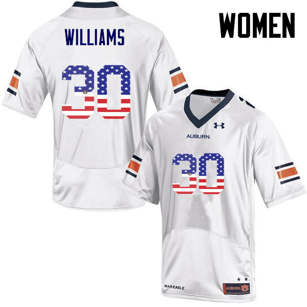 Women #30 Tre Williams Auburn Tigers USA Flag Fashion College Football Jerseys-White