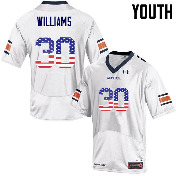 Youth #30 Tre Williams Auburn Tigers USA Flag Fashion College Football Jerseys-White