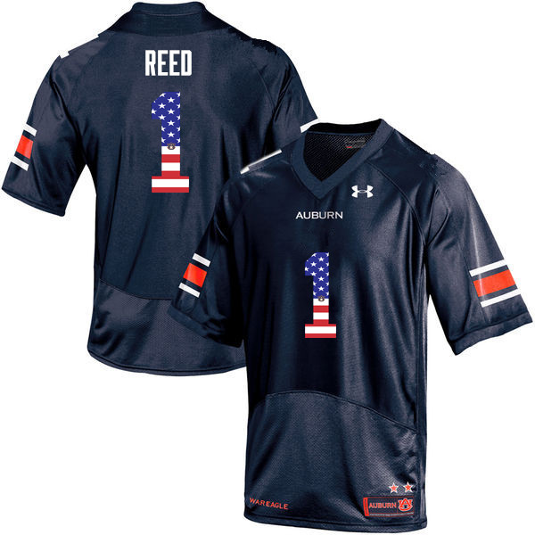 Men #1 Trovon Reed Auburn Tigers USA Flag Fashion College Football Jerseys-Navy