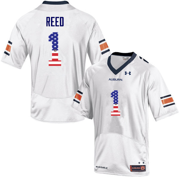 Men #1 Trovon Reed Auburn Tigers USA Flag Fashion College Football Jerseys-White