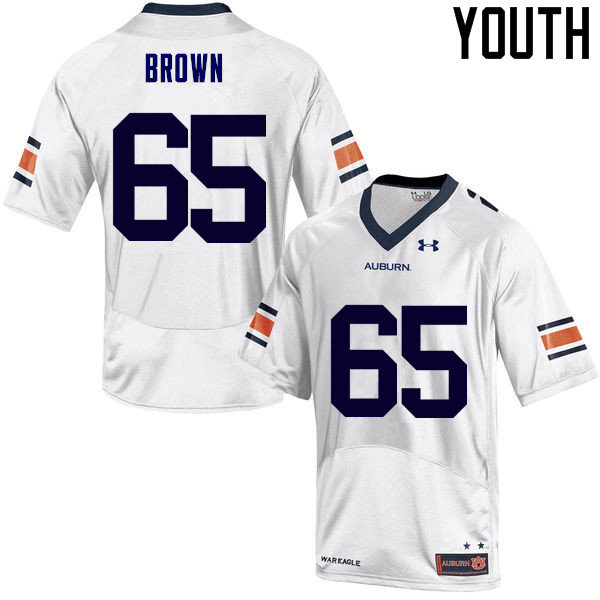 Youth Auburn Tigers #65 Tucker Brown College Football Jerseys Sale-White