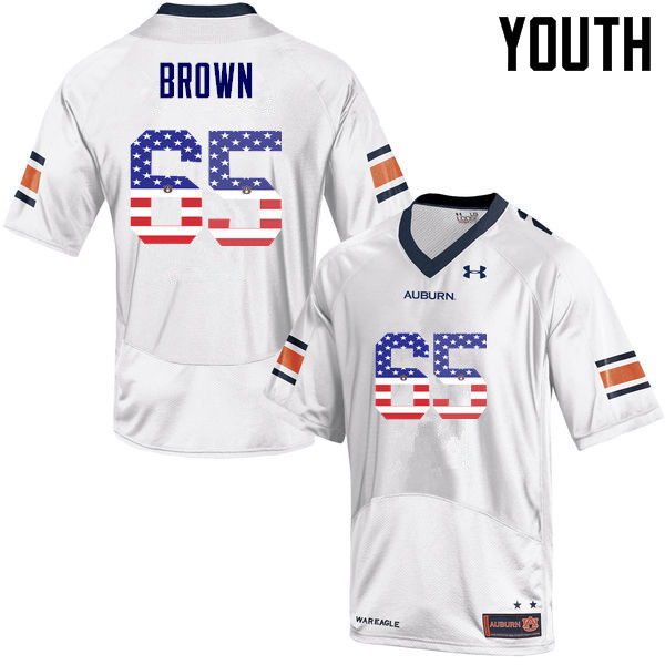 Youth #65 Tucker Brown Auburn Tigers USA Flag Fashion College Football Jerseys-White