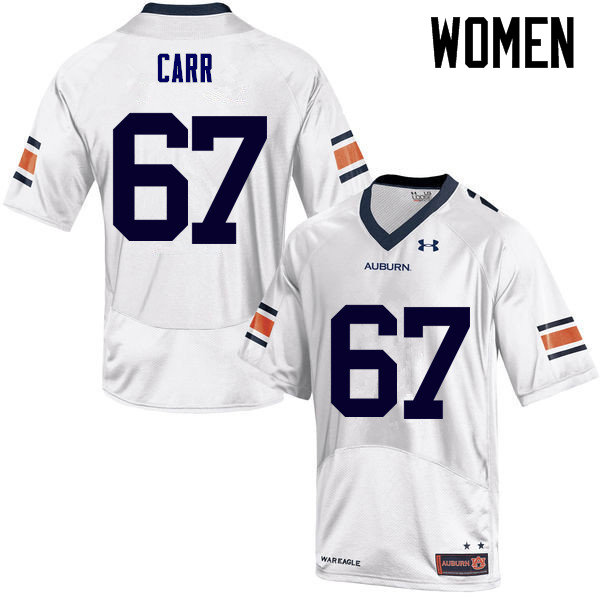 Women Auburn Tigers #67 Tyler Carr College Football Jerseys Sale-White