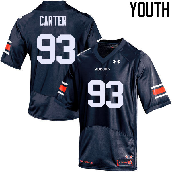 Youth Auburn Tigers #93 Tyler Carter College Football Jerseys Sale-Navy