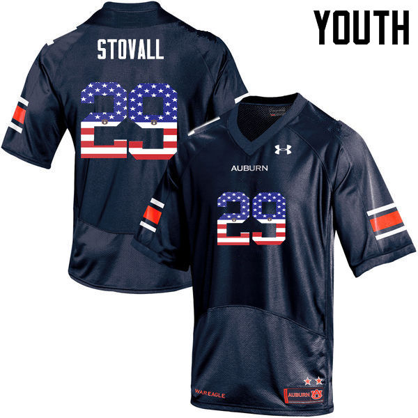 Youth #29 Tyler Stovall Auburn Tigers USA Flag Fashion College Football Jerseys-Navy