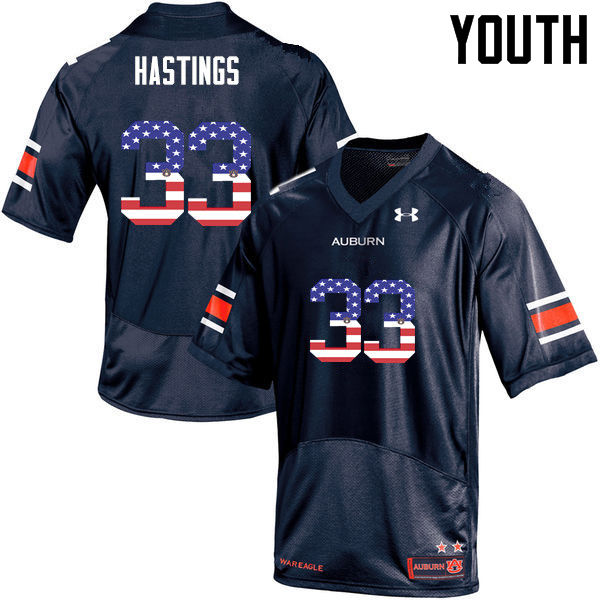 Youth #33 Will Hastings Auburn Tigers USA Flag Fashion College Football Jerseys-Navy
