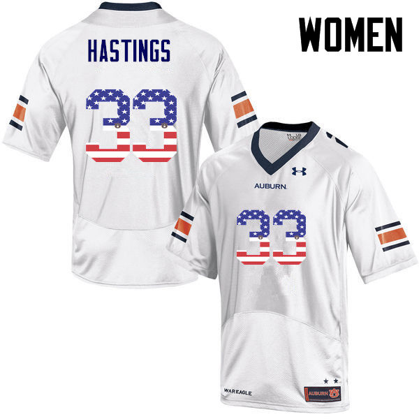 Women #33 Will Hastings Auburn Tigers USA Flag Fashion College Football Jerseys-White