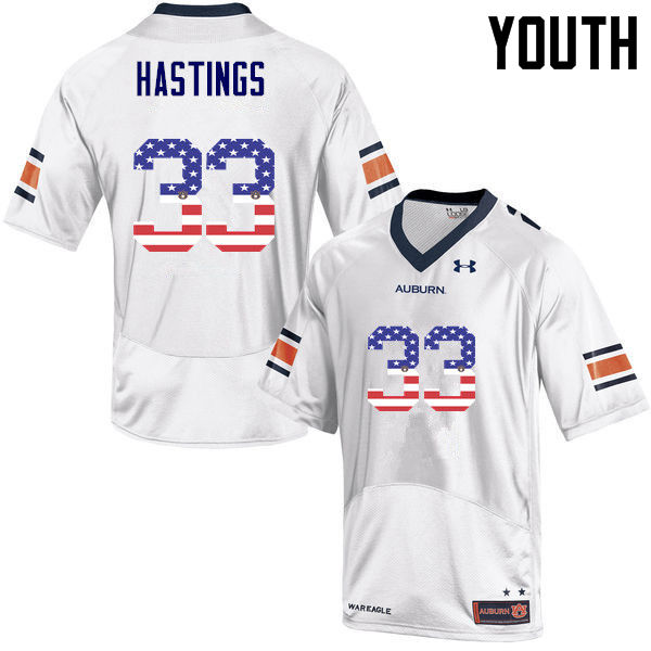 Youth #33 Will Hastings Auburn Tigers USA Flag Fashion College Football Jerseys-White