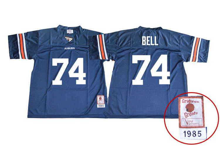 1985 Throwback Men #74 Wilson Bell Auburn Tigers College Football Jerseys Sale-Navy